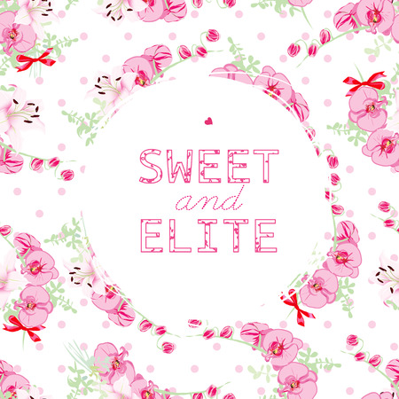 elite: Orchids and lilies with bows on the white background. Cute round frame. Sweet and Elite slogan. Typographic design artwork.
