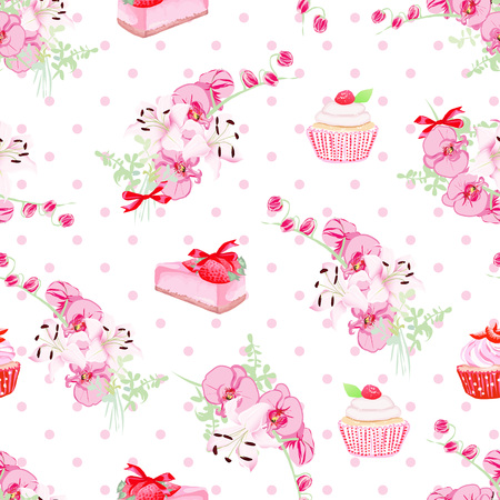 tea party: Delicious french desserts and fresh flowers seamless vector pattern. Polka dot background.