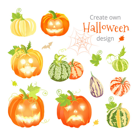 create: Create own Halloween design vector set. All elements are isolated and editable.