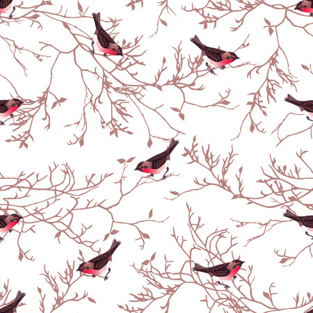 Bullfinches and bare tree branches seamless vector print