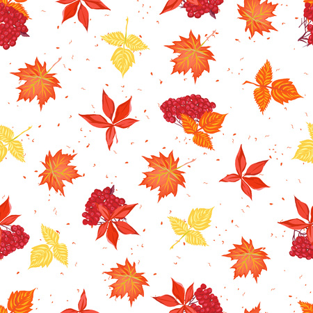 ashberry: Autumn leaves and red ashberry seamless vector pattern Illustration