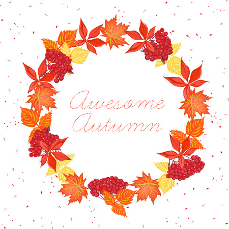 fall leaves: Autumn leaves round design vector frame. Invitation template in warm leaf-fall tones.
