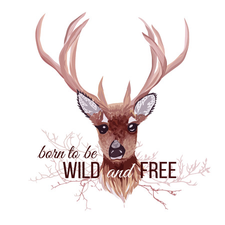 Deer and bare branches vector design object. Wild and Free slogan. Typographic design artwork. All elements are isolated and editable.