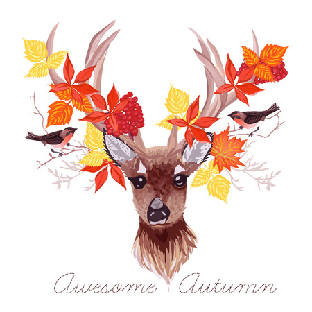 ashberry: Deer, autumn leaves and bullfinches vector design. All elements are isolated and editable. Illustration
