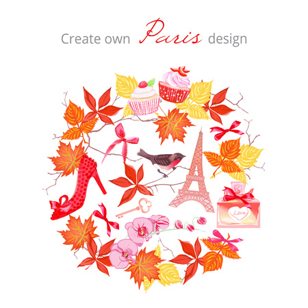 cupcakes isolated: Create own Paris autumnal design vector set. Bright leaves, fashion shoe, bows, key, cupcakes, Eiffel tower, perfume bottle,bullfinch,branches. All elements are isolated and editable.