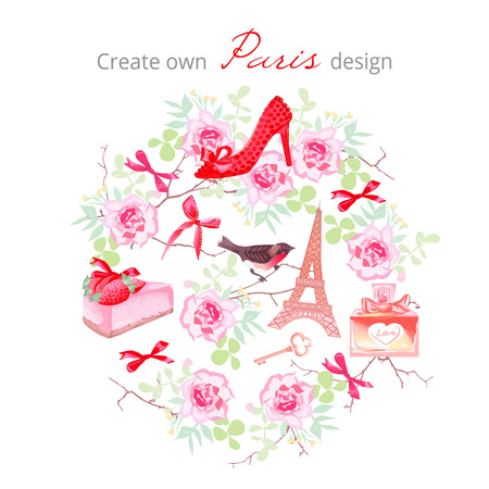 Create own Paris design vector set. Rose bunches, fashion shoe, bows, key, strawberry cake, Eiffel tower, perfume bottle,bullfinch,branches. All elements are isolated and editable.