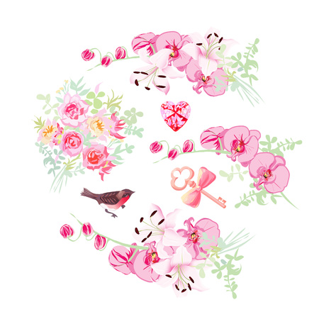 flower card: Orchid, lily and rose bouquets vector design objects. Bullfinch, pink diamond, key with bow. All elements are isolated and editable. Illustration