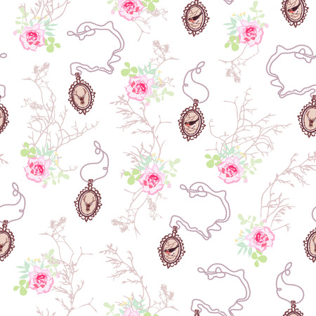 Romantic pattern with roses, cute chain medallions and tree branches Иллюстрация