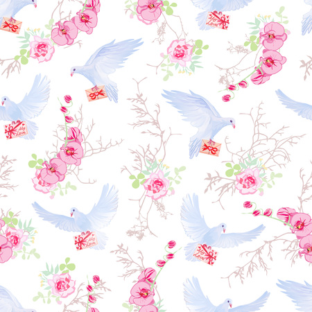 Delicate pattern with post doves, love letters, orchids, roses and tree branches