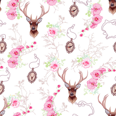 Romantic pattern with reindeer, orchids, roses, cute chain medallions and tree branches