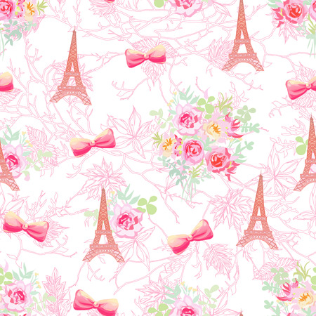 france: Delicate Eiffel towers and french bouquets seamless print