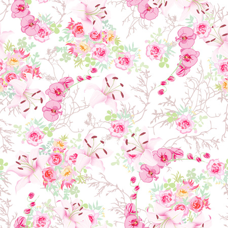 pastel backgrounds: Wedding garlands with lilies, roses, orchids, peonies seamless print Illustration