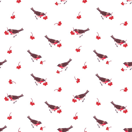 ashberry: Cute Christmas bullfinches and ashberry bunches seamless pattern Illustration