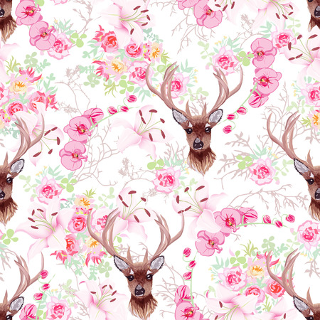Graceful reindeer and pink flowers seamless pattern