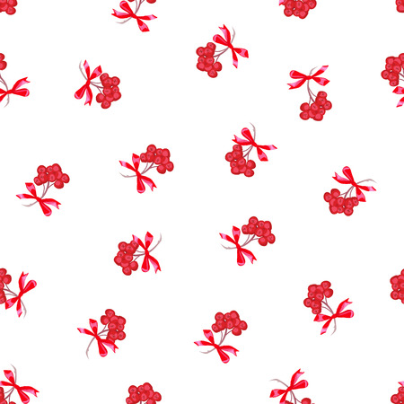 ashberry: Red ashberry bunches with ribbon bows seamless print. Seasonal pattern with fresh berry.