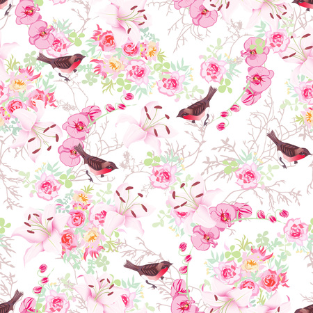 Baroque floral bouquets with bullfinches seamless print. Orchid, rose, peony, lily, tree branches. Фото со стока - 47847964