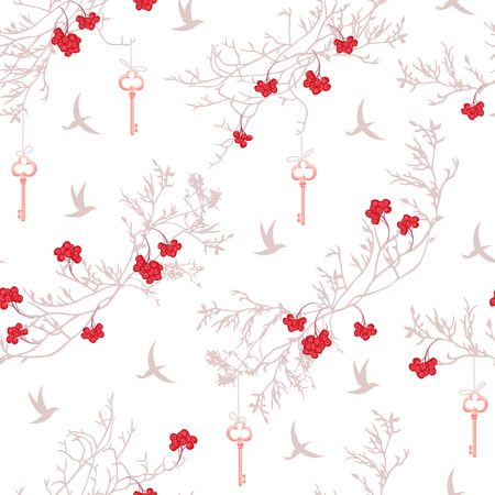 Rowanberry tree, flying birds and dangling keys seamless print.