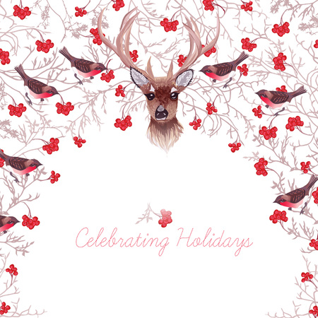 ashberry: Reindeer, red rowanberry, bullfinches and tree branches round design frame