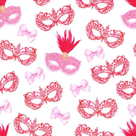 xmas ball: Masquerade mask with red feathers and pink bows seamless pattern