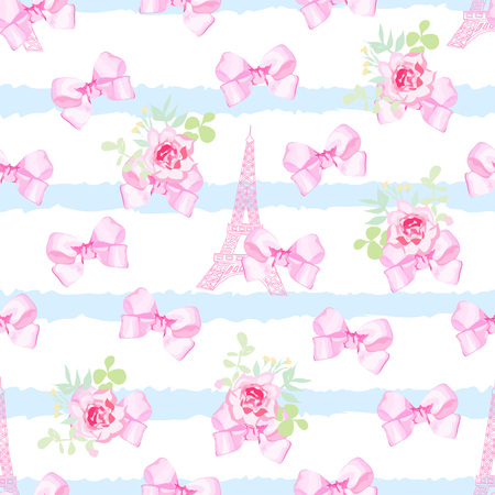 pink satin: Striped blue seamless print with flower bunches, pink satin bows and Eiffel tower