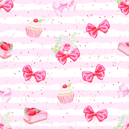 a bow: Romantic fresh pastries and red bows seamless pattern