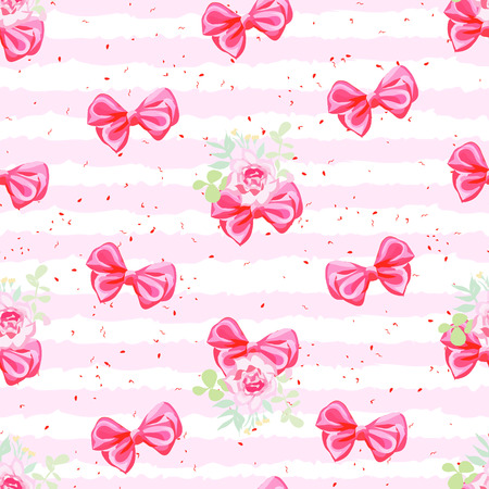 Striped pink seamless pattern with cute satin bows and rose flowers
