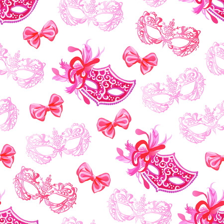 Masquerade mask with lace, ribbons, feathers and red bows seamless vector pattern