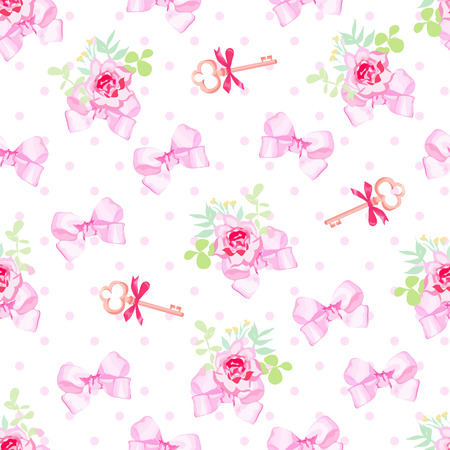 pink satin: Romantic vector seamless print with cute pink satin bows, rose flowers and medieval keys Illustration