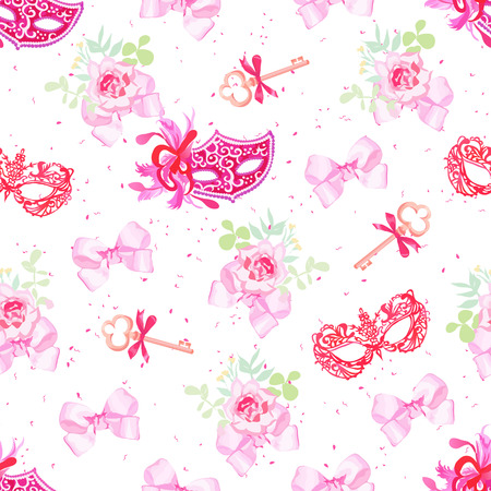 masked ball: Bright carnival masks, vintage keys and small floral bouquets with pink bows seamless vector pattern