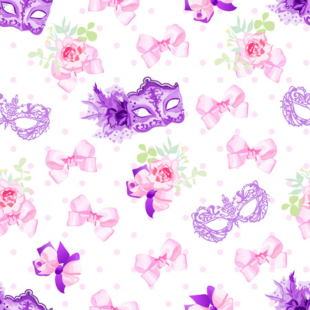 carnival masks: Violet carnival masks, small floral bouquets with pink bows seamless vector pattern