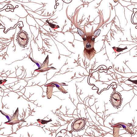 Wildlife seamless vector pattern with tree branches, cute chain medallions, deer, birds.