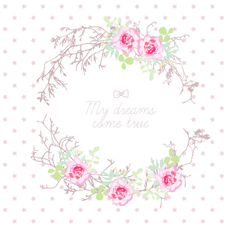Tree branches and rose flowers round vector frame. Star spotted background. All elements are isolated and editable. Illustration