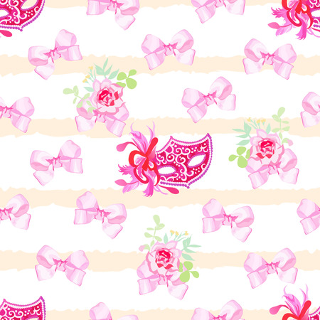 masked ball: Striped pastel seamless vector print with pink satin bows, rose flowers and venetian carnival masks