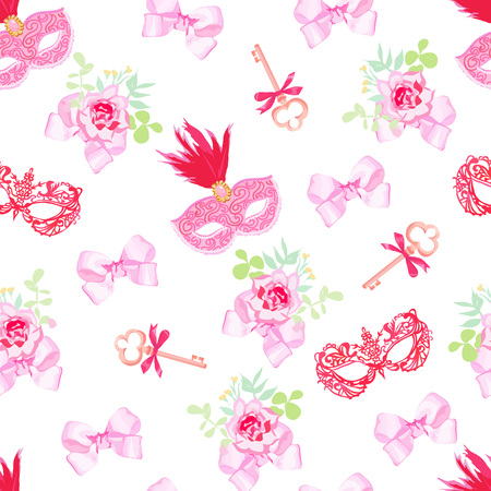 masked ball: Red carnival masks, vintage keys and small floral bouquets with pink bows seamless vector pattern