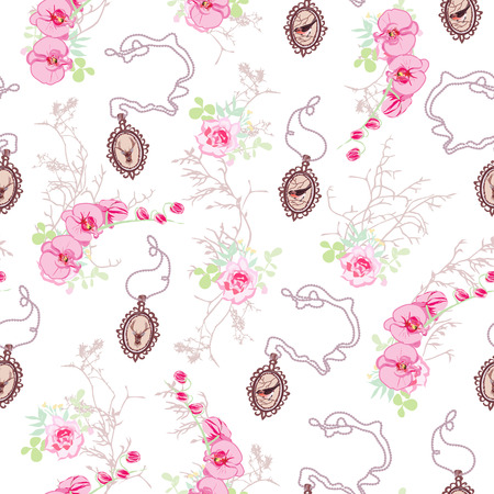 Romantic vector pattern with roses, cute chain medallions, orchids and tree branches