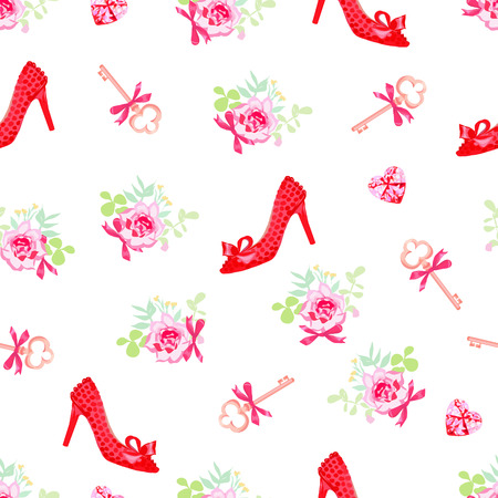 Fashion heels lady shoes and flowers seamless vector print Illustration