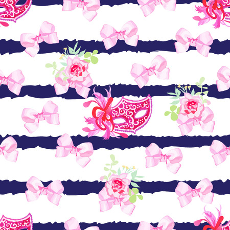 masked ball: Striped navy seamless vector print with pink satin bows, rose flowers and venetian carnival masks Illustration