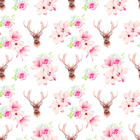 Delicate magnolia and rose flowers and deer seamless vector print Фото со стока - 49171426