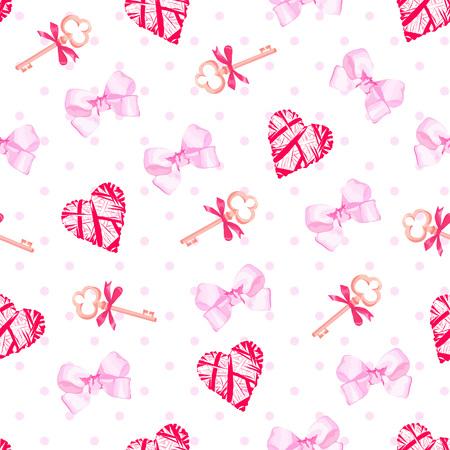 pink satin: Keys from valentines heart and pink satin bows seamless vector pattern. Polka dot backdrop.
