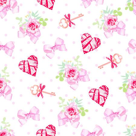 pink satin: Keys, flowers, hearts and pink satin bows seamless vector print. Polka dot backdrop. Illustration