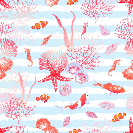 shell: Ocean nature with fishes, red star, shells, seahorse, algae seamless vector pattern. Blue striped background. Illustration
