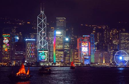 hong kong night: Seasonal greetings at the Hong Kong skyscrapers, Hong Kong S.A.R.