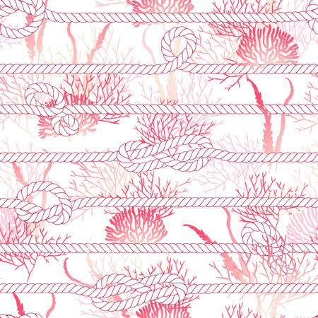 corales marinos: El coral rojo y blanco cuerda marina de impresión de vectores sin fisuras