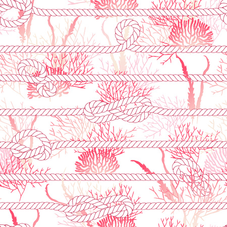 marine: Red coral and white marine rope seamless vector print