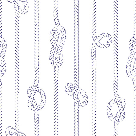 classic contrast: Vertical white marine rope with knots seamless vector print