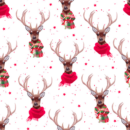preppy: Graceful deer wearing stylish winter scarves seamless vector print