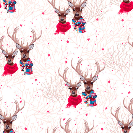 preppy: Beautiful deer couple wearing winter scarves seamless vector print