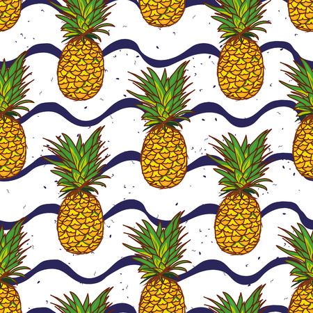 Pineapple and hand drawn navy waves seamless vector print