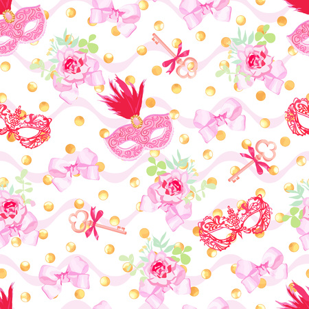 masked ball: Red carnival masks, shining golden glitters, vintage keys and small floral bouquets with pink bows seamless vector pattern Illustration