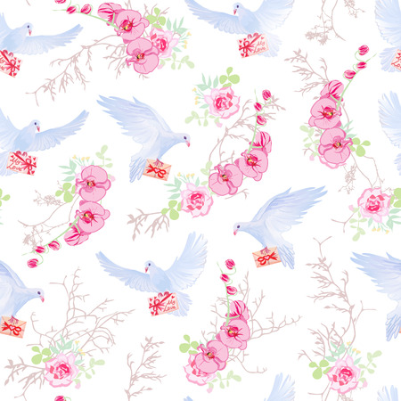 sweet background: Delicate vector pattern with post doves, love letters, orchids, roses and tree branches